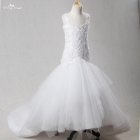 FG53 White Girls Pageant Dresses Sweetheart Neckline Sexy Backless Mermaid Flower Girl Dresses With Long Train