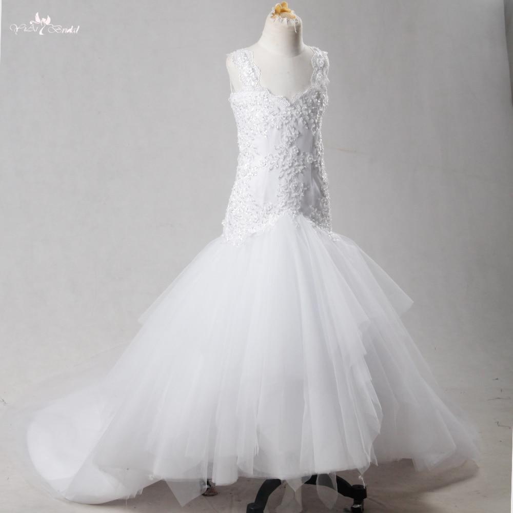 Fg53 белый Обувь для девочек Нарядные платья Милая декольте Sexy спинки Русалка Платья для девочек на свадьбу с длинным шлейфом