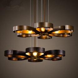 Loft kreatywny krajem ameryki Retro przemysłowe żyrandol bar restauracja kawy 6 głowice kwiat kształt z kutego żelazny żyrandol w Wiszące lampki od Lampy i oświetlenie na