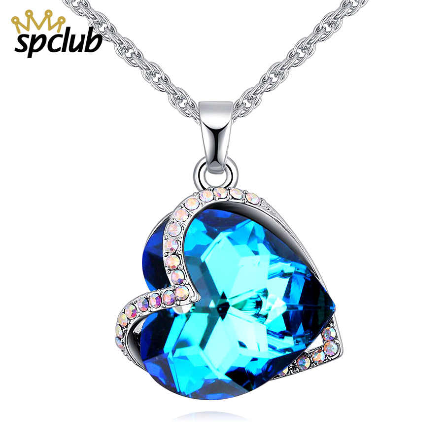 Crystals From Swarovski Necklaces Fashion Jewelry For Women Pendant 2018  Blue Rhinestone Luxury Collier Femme Heart Statement