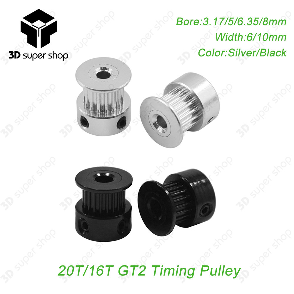 GT2 Timing Pulley 16/20Teeth Gear Bore 5/6.35/8MM for GT2 Belt Width 10mm Alumium For 3 D Printer Accessories Good Quality-in 3D Printer Parts & Accessories from Computer & Office on Aliexpress.com | Alibaba Group