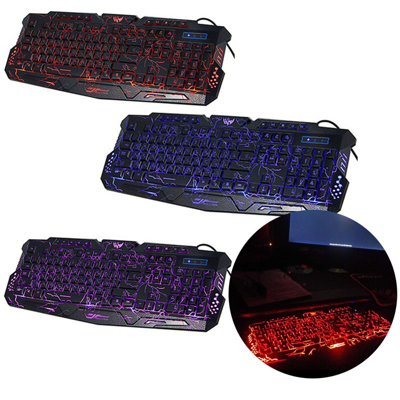 2018 High Quality 1pc Adjustable Crack Backlight LED Pro Gaming Keyboard USB Wired Powered Full N Key For Computer Peripherals
