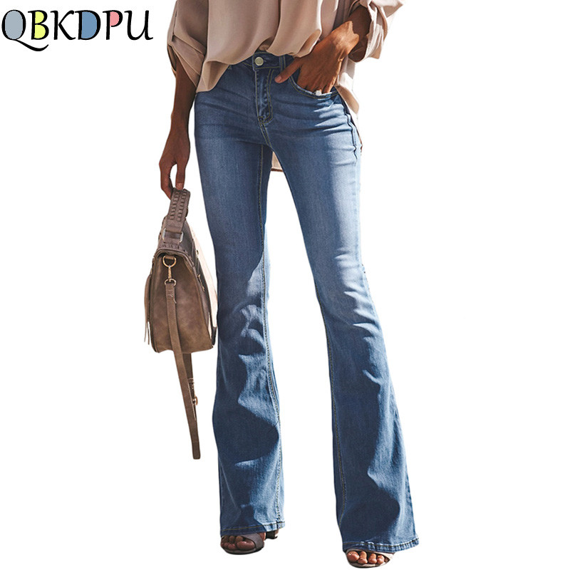 Fashion Women High Waist Hole Denim Pants 2019 Hole Jeans Button Loose Casual Pants Trousers Bell-bottom Summer Pants Plus Size