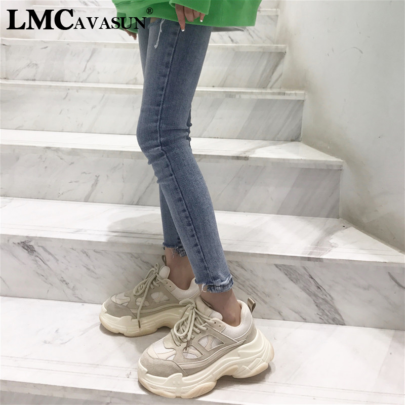 LMCAVASUN Genuine Leather Retro Dirty Women's Chunky Sneaker Fashion Vintage Platform Women Dad Sneakers Thick Sole Shoes Flats