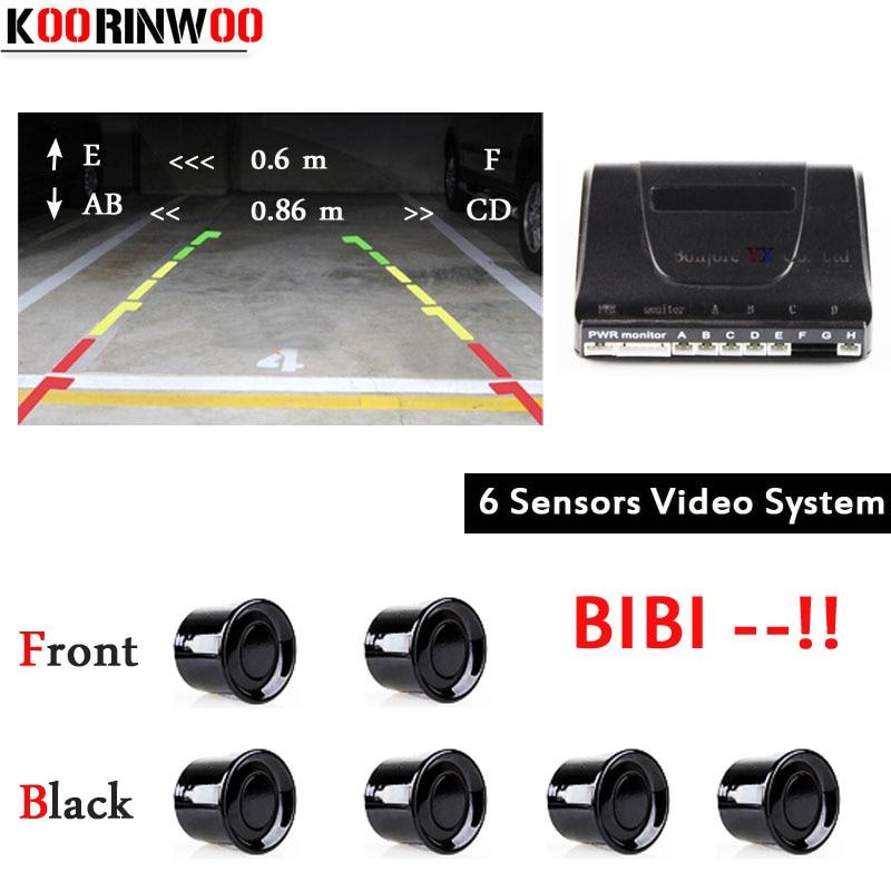 6 Koorinwoo Rca de Vídeo Dual Core CPU Sensor de Estacionamento Invertendo Sistema de Radares Detector De Vídeo kit Sistema de Sonda Indicador de Alerta