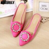 Shoes Woman Rhinestone Mules Flat Slipper Betterfly knot Pointed toe Slides Sandals Flip flops plus size rose red purple Leopard