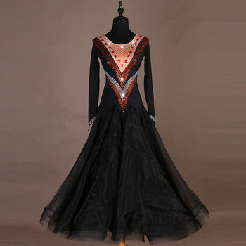 ballroom dance competition dresses women dancing dress standard ballroom dress waltz dance costumes luminous dress sequins black