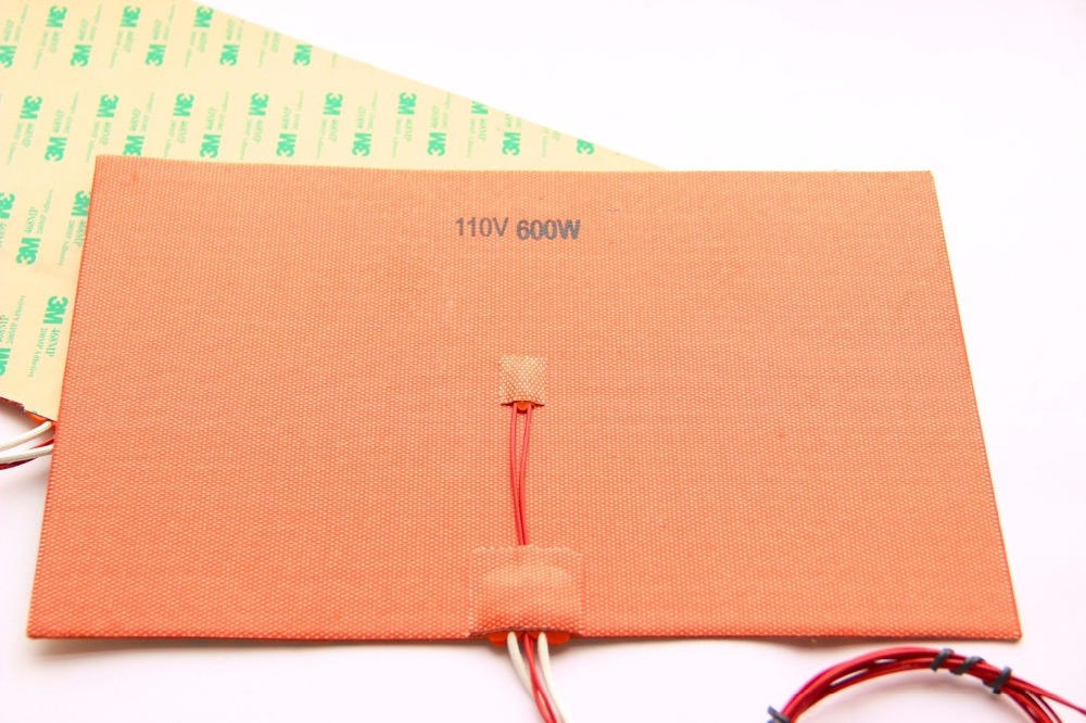 A Funssor 110V/220V 600W 200X300mm Silicone Heater Pad heating mat for Reprap 3D Printer HeatBed with 3M and Thermistor