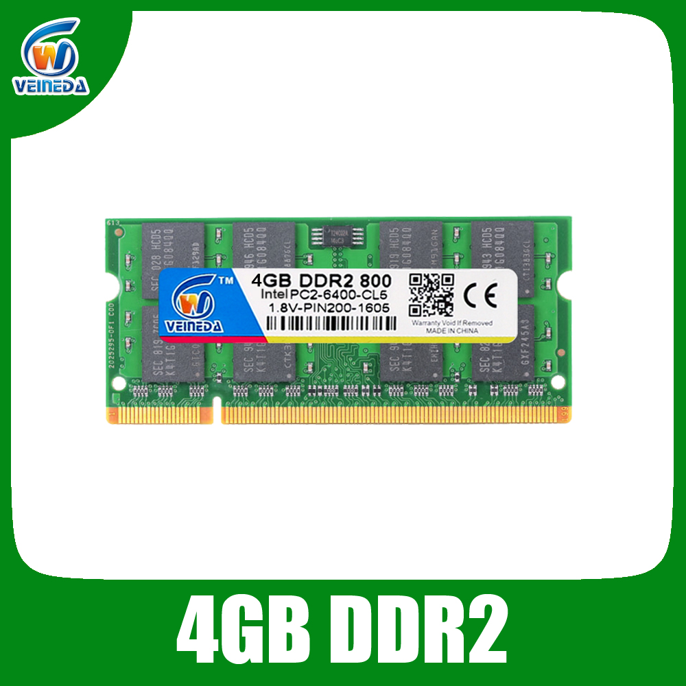 VEINEDA Sodimm 4 gb ddr2 800 Mhz ram ddr2 667 mhz ordinateur portable pour Intel amd mobo Support ram ddr2 pc6400
