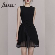 INDRESSME 2019 New Sexy O Neckline Sleeveless Pearl Detailing Mesh Ruched Women Mini Dress Party