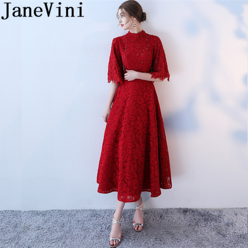 JaneVini 2018 Burgundy Lace Vintage Long   Bridesmaid     Dresses   with Beaded High Neck 1/2 Long Sleeves Ankle Length Prom Party Gowns