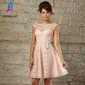 Pêssego vestido de Renda Curto Vestidos de Dama de honra Mangas Boat Neck Plissados V Botões de Volta Vestido de Festa de Casamento Para As Mulheres