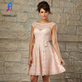Peach Lace Short Bridesmaid Dresses Sleeves Boat Neck Pleats V Back Buttons Wedding Party Dress For Women