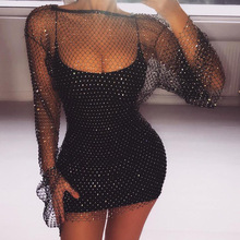 Summer Sexy Diamonds Mesh Patchwork Bodycon Dresses Crochet Hollow Out Rhinestone Long Sleeve Party See-through Wrap Mini Dress цена