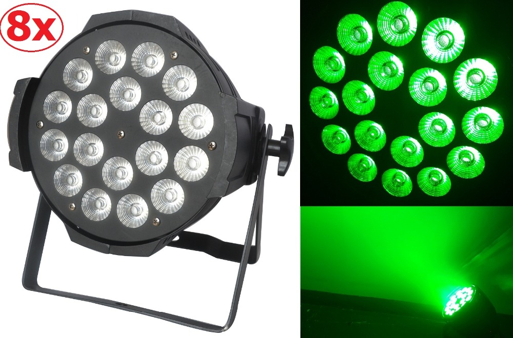 8xLot Free shipping 18X15W RGBWA 5in1 Led Par Can Professional Lighting Indoor Dmx Spotlights Stage Lights DJ Equipment Par Led 2xlot sales 2016 led par light 7x15w rgbwa 5in1 100w dj disco dmx stage lights par can led effect club party lighting free ship