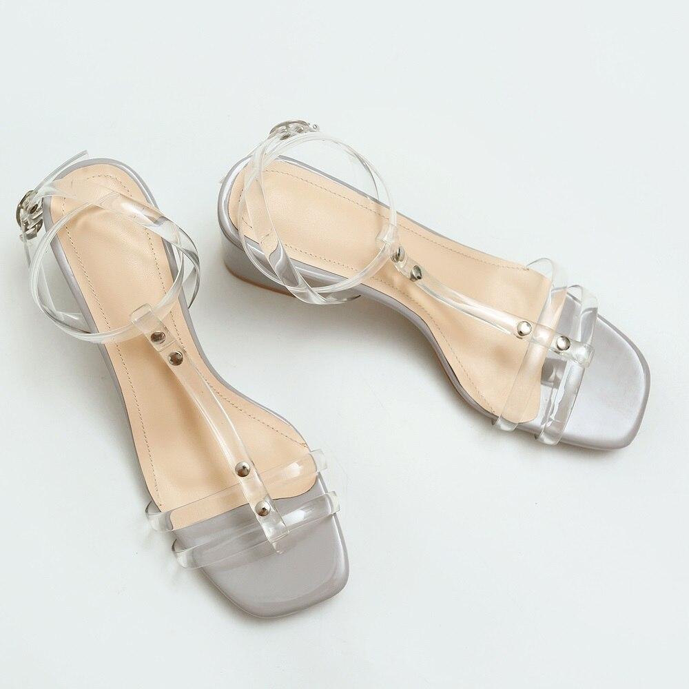 40 basse donne sandali qualità 33 in grigio scarpe albicocca Asumer quadrati estate alti pvc di Loop di 2018 modo nuovi tacchi casual Size vestito E4xwqU