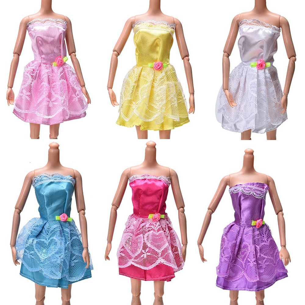 NK 6 Pcs/ Set Doll Outfit Handmade Style Quick Gown For Barbie Doll Gown Child Lady Birthday new 12 months Greatest Current for teenagers