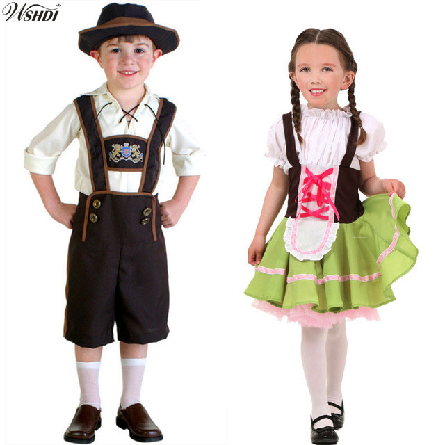 1a92fe2df Halloween Costumes For Kids Oktoberfest Beer Maid Waiter Costume Beer Girl  Bavarian Boy Lederhosen Fantasia Uniform