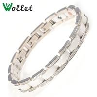 Wollet Jewelry Black White Ceramic Solid Germanium Bracelets Bangle for Women Men Magnet Metallic Health Healing Energy