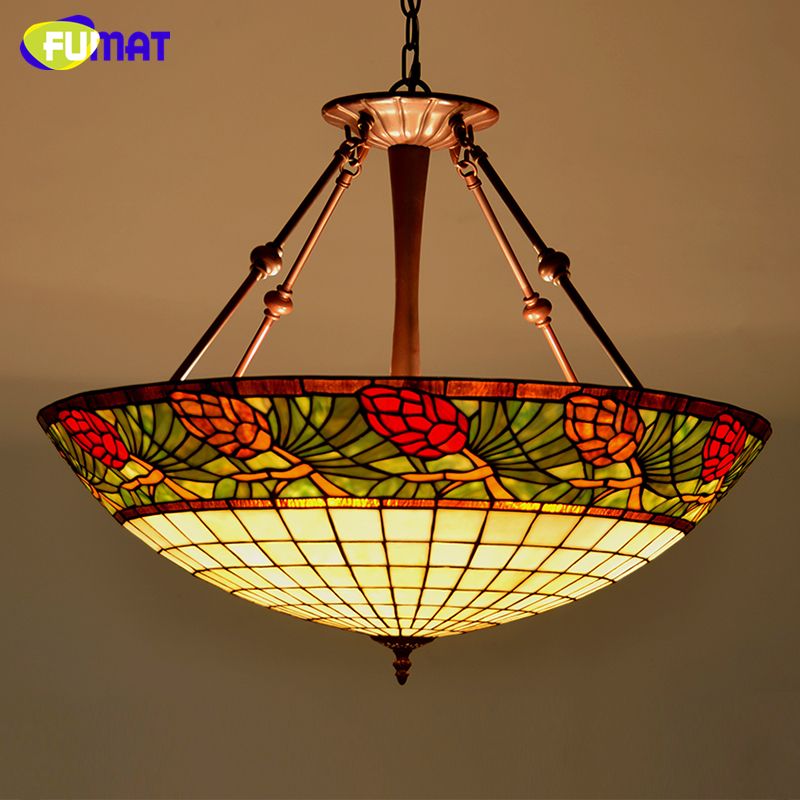 FUMAT Stained Glass Lamp Country Style Pinecone Glass Pendant Lamp Living Room Hotel LED Suspension Light Decoration Lampe fumat stained glass lamp european style antique chandelier complex classic living room hotel glass art lamp curtains beads lamp