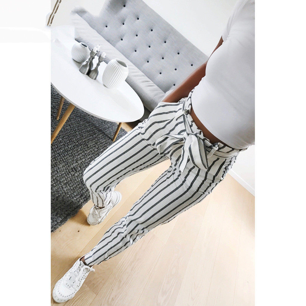 women 2020 fashion Skinny Women Striped Long Casual High Waist Ladies Pants Trouser office Pants Trousers Women new W703
