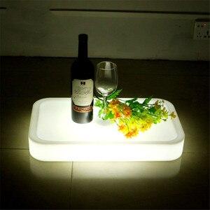 Image 3 - 16 Farbe Veränderbare Quadrat LED leuchtet Serviertablett USB Wiederaufladbare fruchtgetränke KTV Bars trays licht Mit fernbedienung