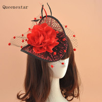 Vintage Lace Fascinator Headband Women Gauze Feather Hair Band Ladies Wedding Party Bride Veil Hat Halloween