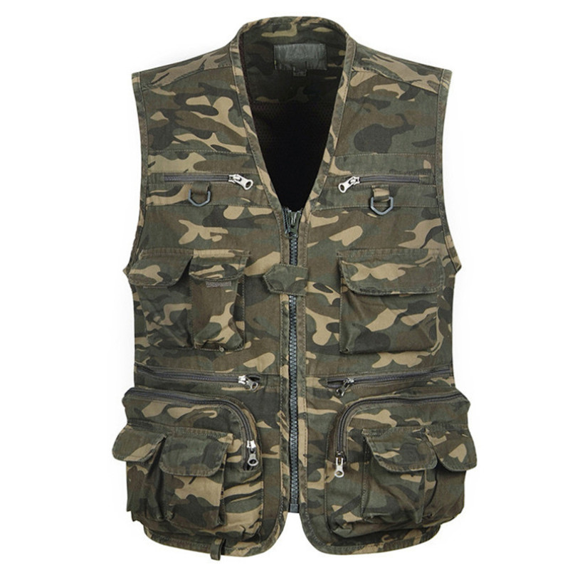 Men's Pro Journalist Photographer Work Vest Camouflage Multi Pockets Tool Jackets