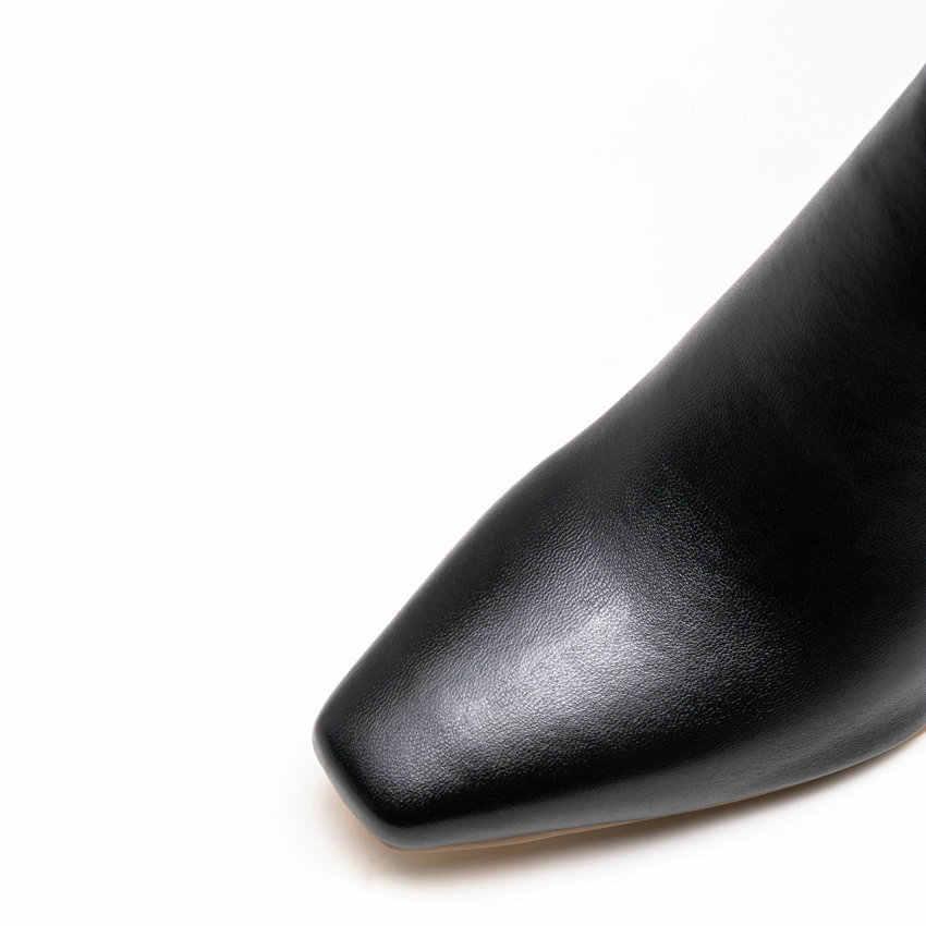 QUTAA 2020 Retro Kare Ayak PU Deri Özlü yarım çizmeler Moda Kare Yüksek Topuk Fermuar Tüm Maç Kadın Ayakkabı Büyük Boy 34-43
