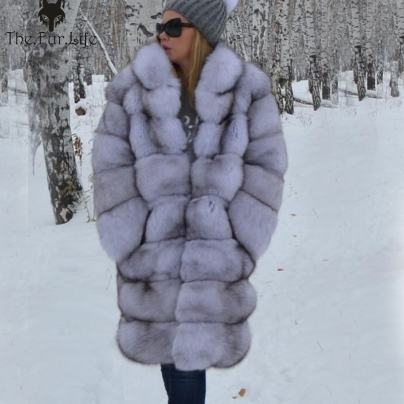 Mulheres Reais Casaco De Pele Grossa Quente Feminino Collar Natural Fox Fur Jacket Casacos Moda Inverno Real Fox Fur Coat para mulheres