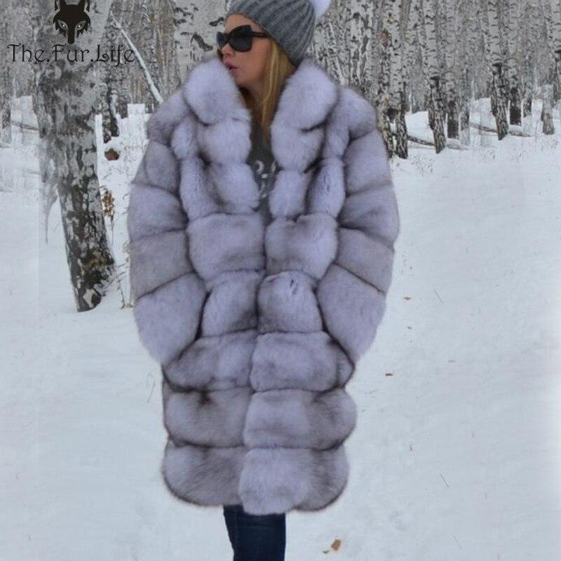 Women Real Fur Coat Thick Warm Female Natural Fox Fur Jacket Outerwear Fashion  Collar Winter Real Fox Fur Coat for Women
