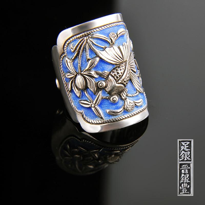 Silber Ring 999 Zuyin Kann es werden überschüsse jährlich. Männer und frauen paare öffnung Silber Ring emaille Shaolan ring - 3