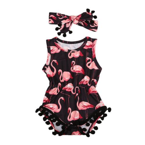 Toddler Baby Girl Sleeveless Bodysuit Hairband 2pcs  Jumpsuit Outfits Flamingo Sunsuit Size 0-24M