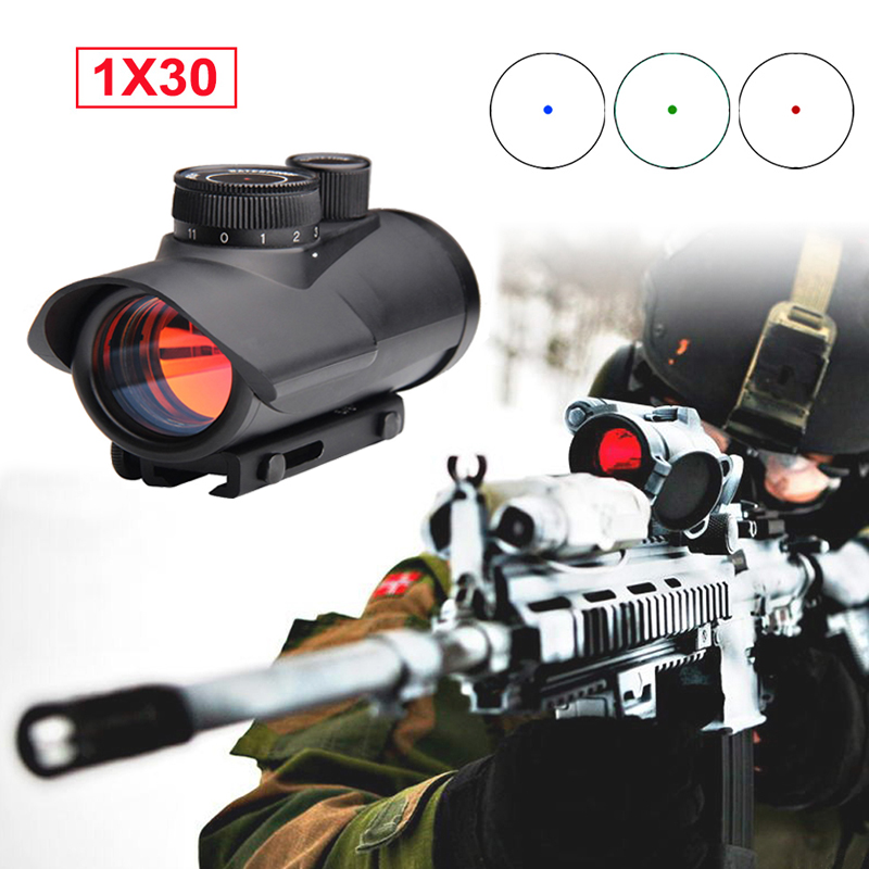 Tactical Hunting Holographic Riflescope 1x30mm RGB Red Green Blue Dot Sight Scope With 11mm/20mm Picatinny Weaver Rail Mount