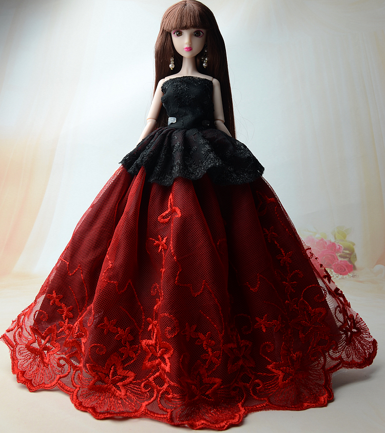 NK One Pcs 2017 Princess Wedding Dress Noble Party Gown For Barbie Doll Fashion Design Outfit Best Gift For Girl' Doll  011E