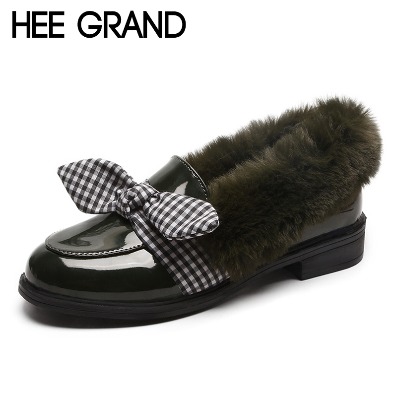HEE GRAND Winter Warm Platform Women Pumps With Fur Patent Leather Woman Oxfords Round Toe Slip On Loafers Women Shoes XWD7029 hee grand 2017 new women oxfords british pu patent leather platform flats spring round toe slip on casual shoes woman xwd3511