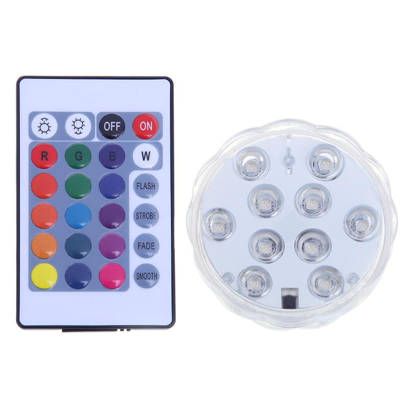 10 LED 16 Colors Waterproof Night Light RGB Party Battery Lamp Remote Control Underwater Vase Wedding Party Fish Tank Decoration keyshare dual bulb night vision led light kit for remote control drones