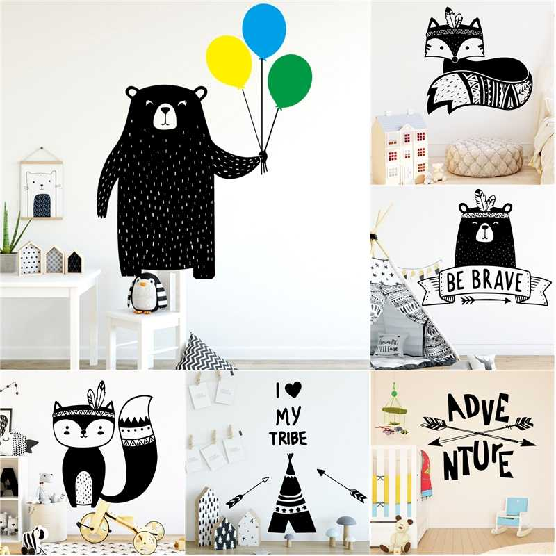 Tribal Animals Ballon Bear Fox Arrow Wall Sticker Vinyls Stickers Bedroom Decor Nursery