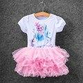 2016 colorido nuevo chicas niños ropa, vestido Anna Elsa para la muchacha, bebé vestido de Elsa personalizada Vestidos de verano del partido Cospaly vestido