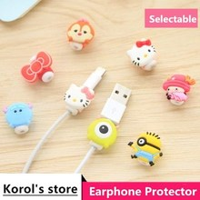 Earphone-Protector Usb-Cable Mobile-Phone Charging-Line Cartoon for 2pcs