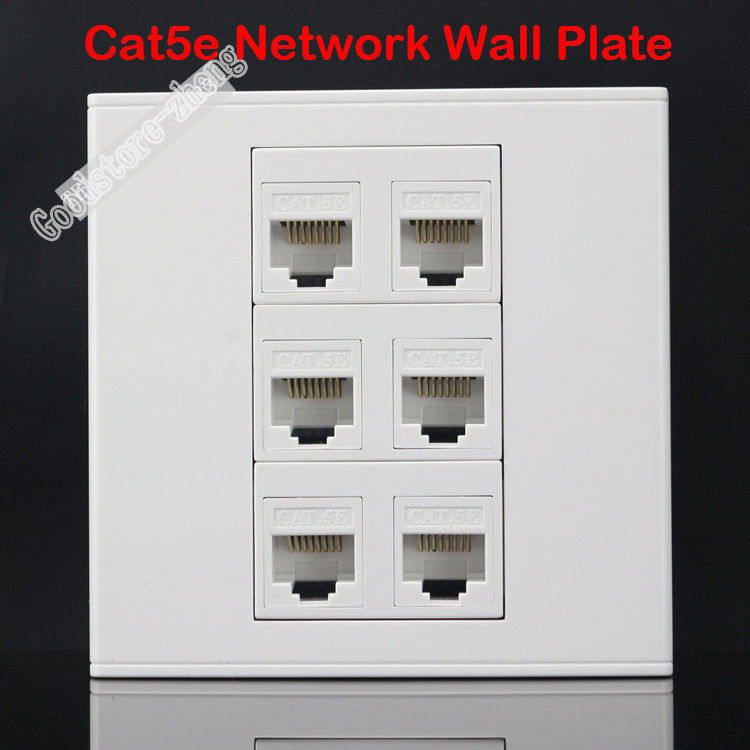 Wall Socket Plate 6 Ports CAT5E Cat5 RJ45 LAN Ethernet Network Outlet Panel Faceplate Home Adapter Plug Standard Wholesale Lots 86x86mm single double port rj45 thick wall plate faceplate wall mount installation with rj45 & rj11 keystone socket outlet