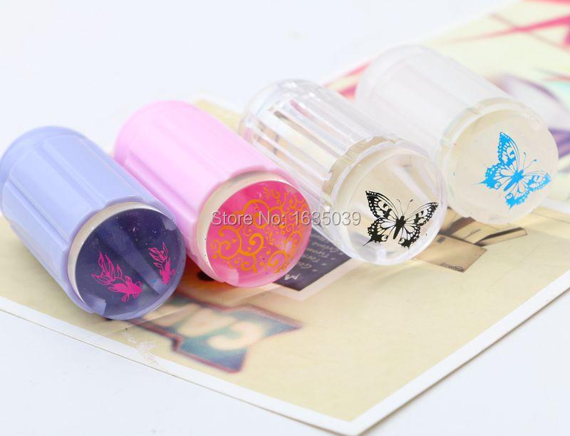 100pcs Nail Clear Jelly Stamper Nail Art Stamping 2.8cm Transparent Nail Stamp Scraper Polish Print Transfer Nail Stamper Tools  цены