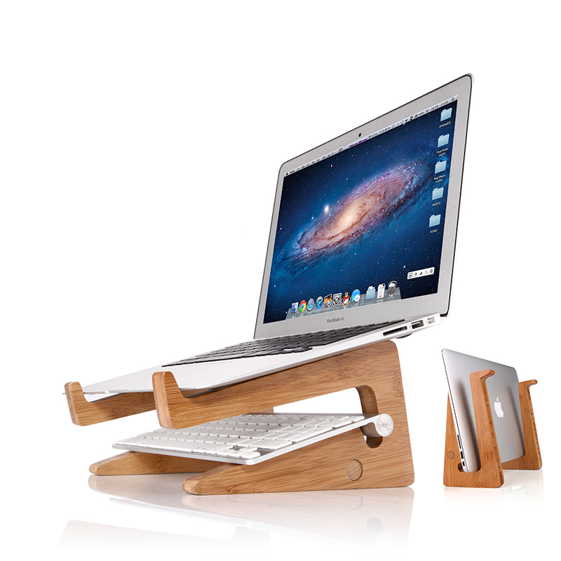 Universal Wood Portable Laptop Vertical Holder Stand Dock, Assembled Folding Wooden Desktop Stand for Macbook Air or Pro