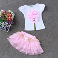 Buenos Ninos Casual 2 pieces clothing Suit  Big Handmade Flowers T-shirt+short skirts Summer Girl Cotton Tee with tutu Skirt Set
