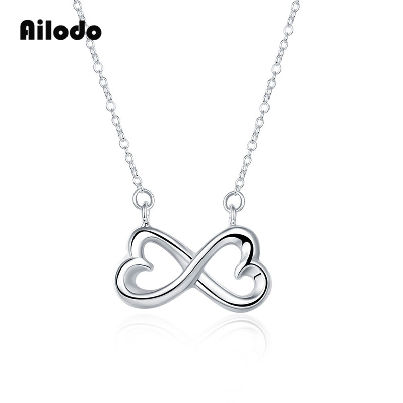Ailodo Heart Shape Bowknot Pendant Necklace For Women Girls Silver Chain Statement Fashion Party Wedding Jewelry LD034
