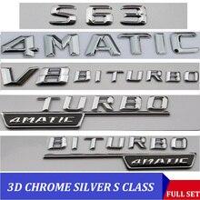3DクロームW221 W222 エンブレムS63 S350 S500 4matic s claため手紙自動車ステッカーバッジロゴemblema mersedesメルセデスベンツamg