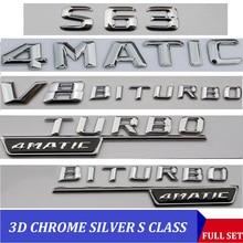 3D krom W221 W222 amblemi S63 S350 S500 4MATIC S CLA mektup oto araba Sticker rozeti logosu Emblema için mercedes Mercedes Benz AMG