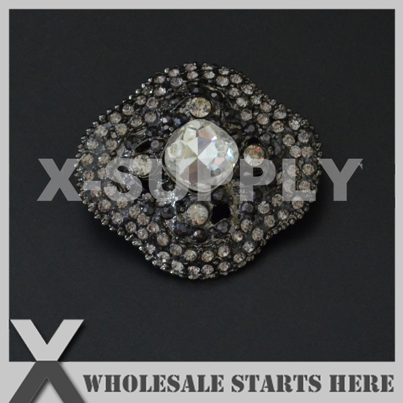 34x37mm Black Metal Rhinestone Brooch with Regular Pin and Hook Backing,Used for Party Evening Wedding Dress,Decorations