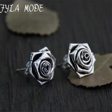 Fyla Mode New Elegant New Sterling Silver Earrings Women Pretty Rose Flower Stud Earrings S925 13*14mm 5G WTS008