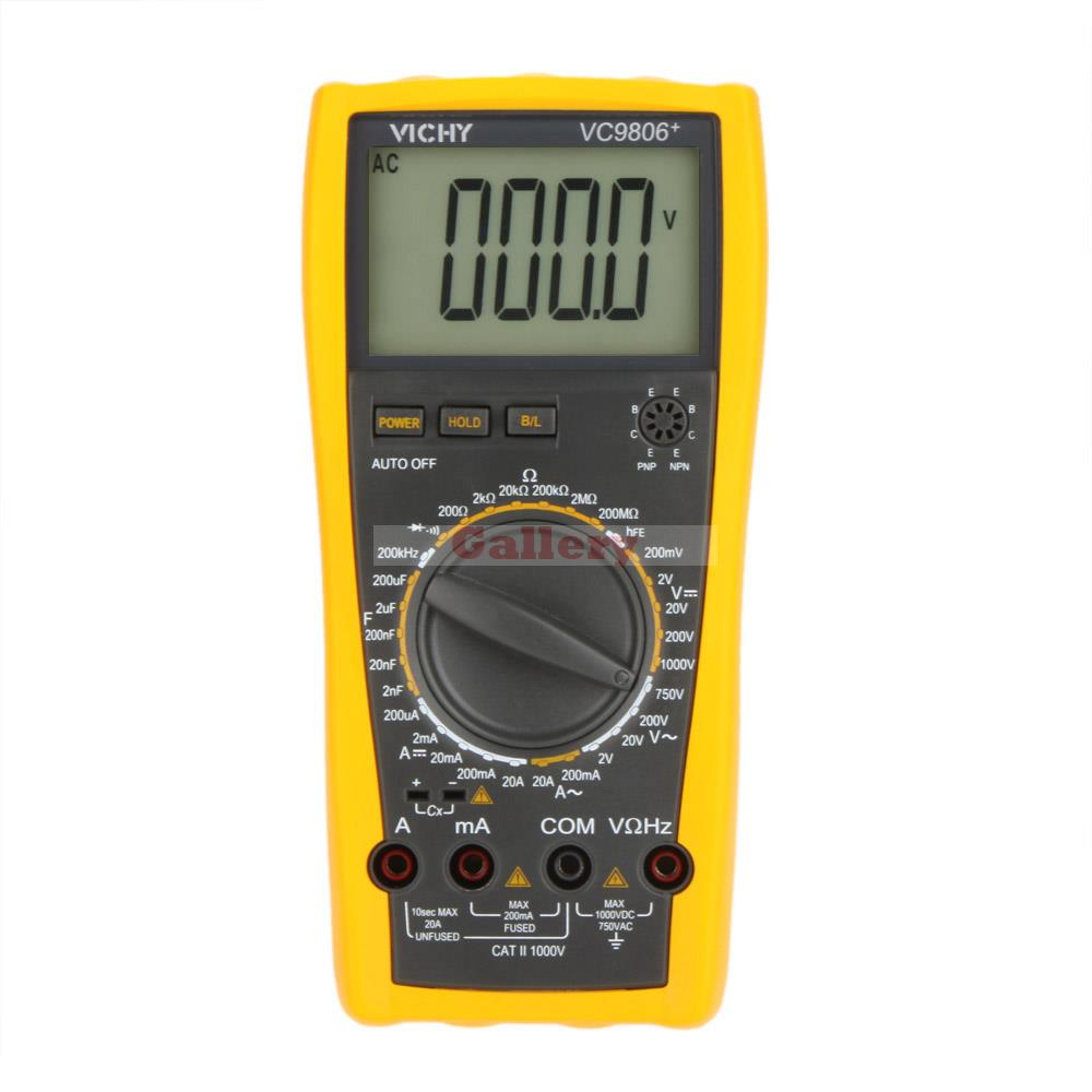 VICHY VC9806+ Digital Multimeter DMM Ammeter Voltmeter Ohmmeter w/ Capacitance Frequency & hFE Test f47n multimeter pointer mechanical capacitance meter ammeter voltmeter pocket